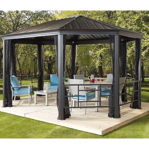 15 X 12 Hardtop Gazebo Metal Steel Aluminum Roof Post Outdoor For Patio Room Set Backyard Gazebo Patio Gazebo Pergola Patio
