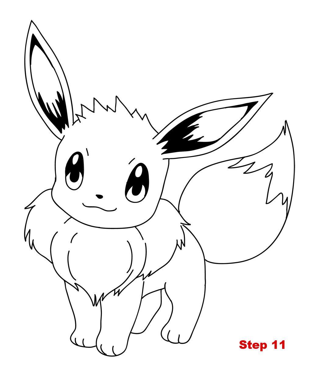 Drawing Eevee Pokemon Tutorial Step 11 Drawing in 2019