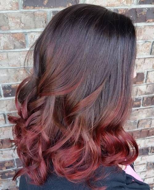 Best Ombre Hair Color Ideas Dark Red Ombre Hair Burgundy Ombre For Medium Length Black Hair Brunette Hair Color Burgundy Hair Black Hair Ombre