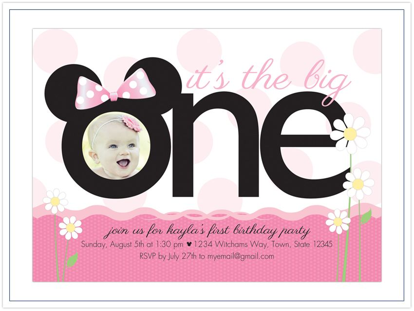 minnie mouse party invitations for 1 year old Nature-Themed Baby - invitation template nature