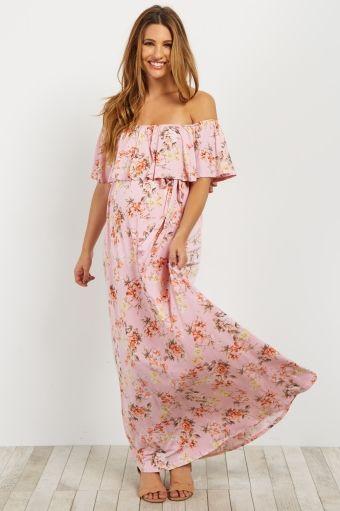 bb6147d75b Light Pink Floral Off Shoulder Sash Tie Maternity Maxi Dress | Baby ...