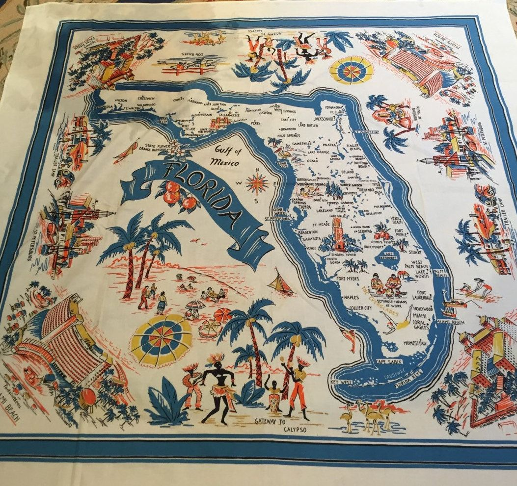 Vintage Kitschy Florida Tablecloth Map Of State Tourist - Florida map attractions