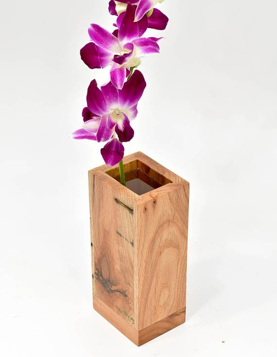 Unique Vase For Fresh Flowers Handcrafted Wood Vase With