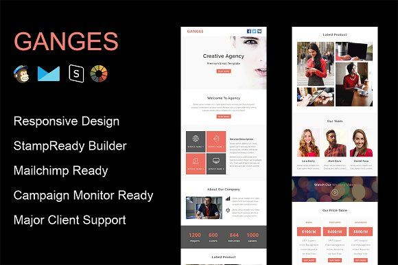 Ganges  Responsive Email Template By Guiwidgets Templates On