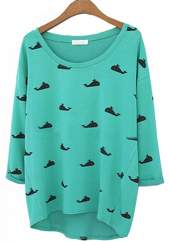 Green Whale Print Round Neck Cotton Blend T-Shirt