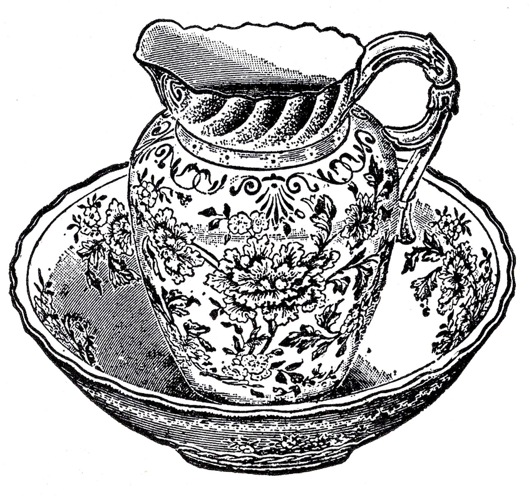 Antique Pitcher And Bowl Image Public Domain Bowl Image Antique Pitcher Graphics Fairy