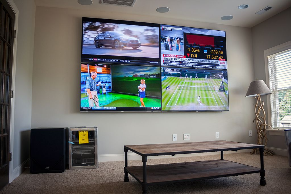 Image result for 4 tv screens into 1 wall display | Man Cave