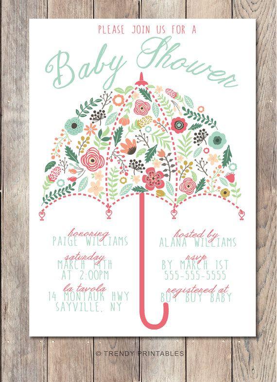 Baby Shower Invitation Umbrella Invite Pretty