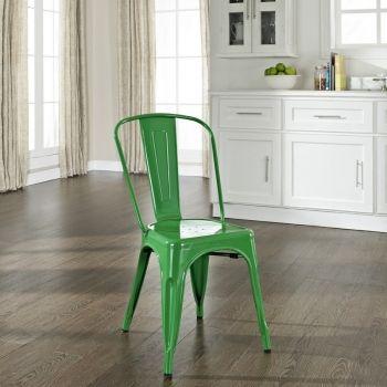 Amelia Indoor/Outdoor Metal Café Chair in Green (Set of 2)