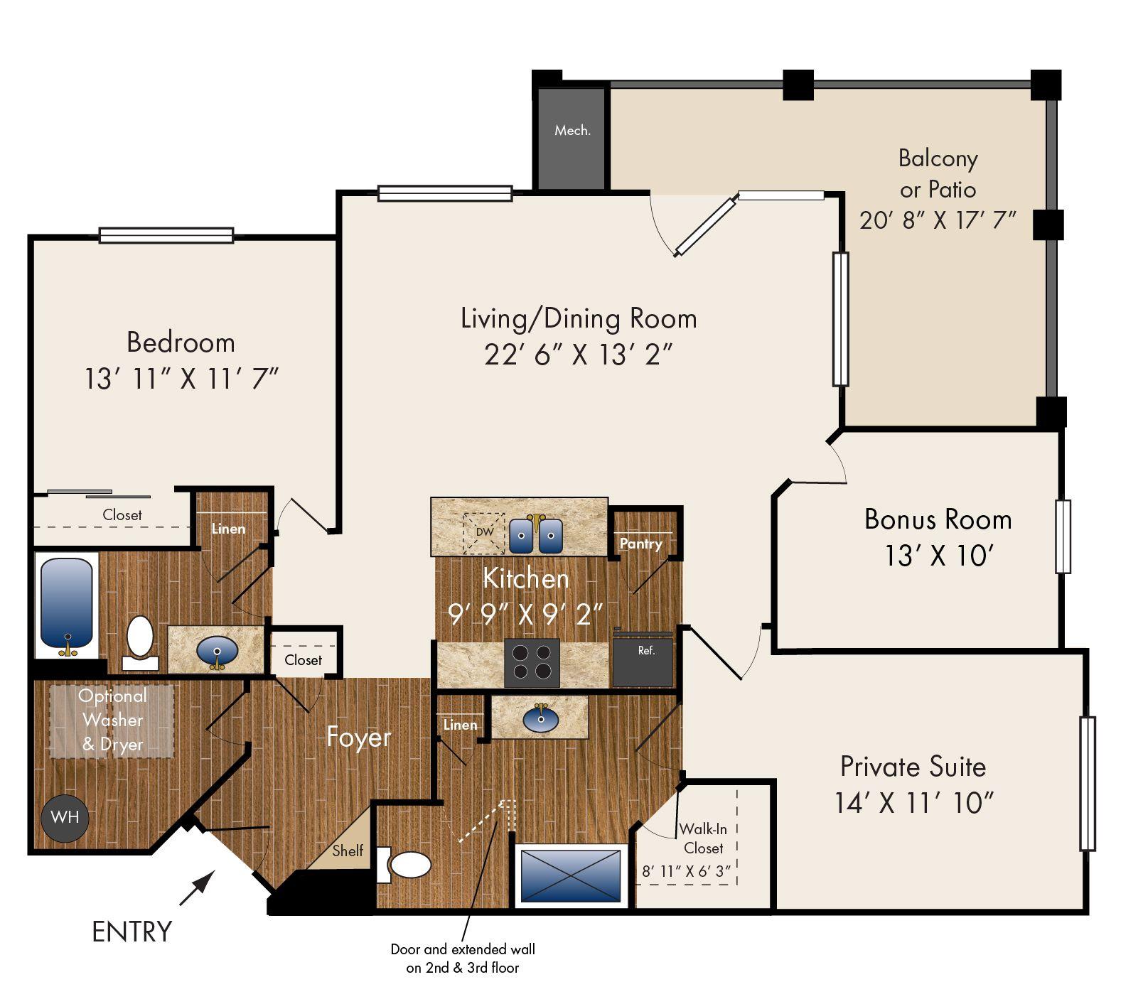 """""""Marlowe"""" Two Bedroom with Bonus Room 1458 sq. ft. Bonus"""