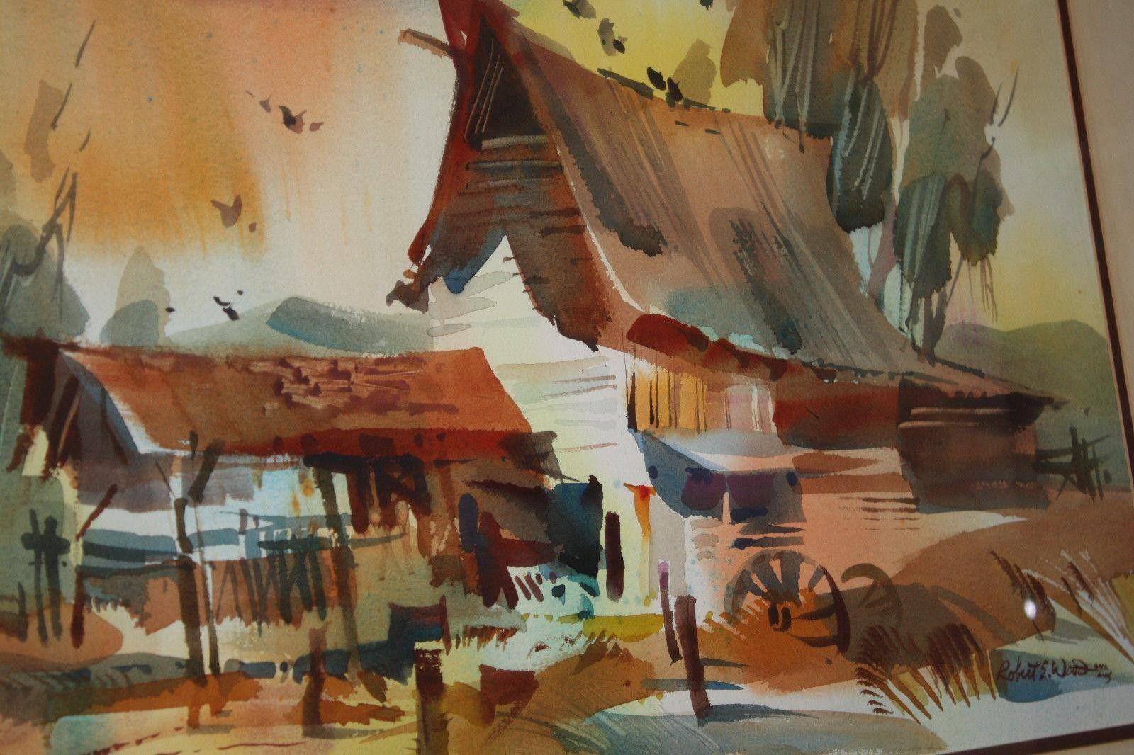 Robert e wood barn watercolor painting watercolor