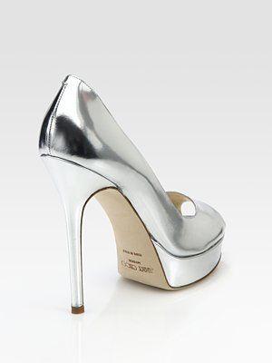 Jimmy Choo  Crown Metallic Patent Leather Peep Toe Platform Pumps  #shoes #style #pinterest #fashion #couture #hautecouture #designer #socialmedia #socialnetworks