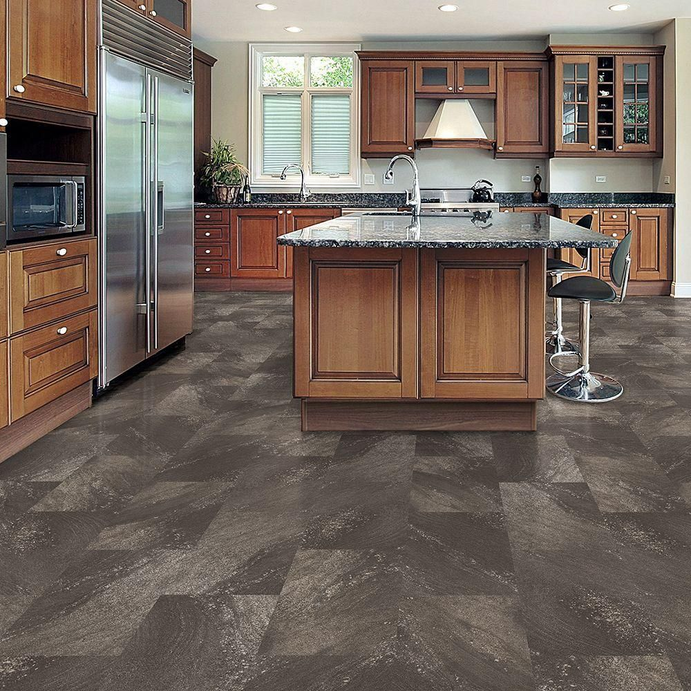 trafficmaster allure ultra 12 in x 23 82 in sandstone steel resilient vinyl tile flooring 19 on kitchen remodel vinyl flooring id=72949