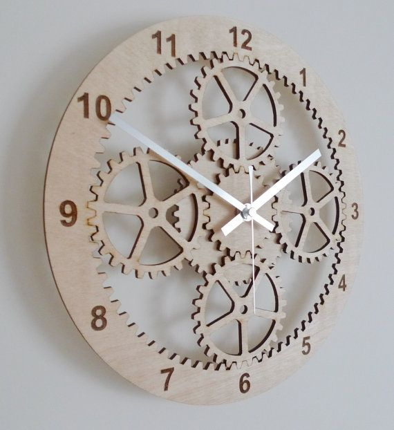 Gears Clock Industrial Wall Clock Unique Clock Wooden