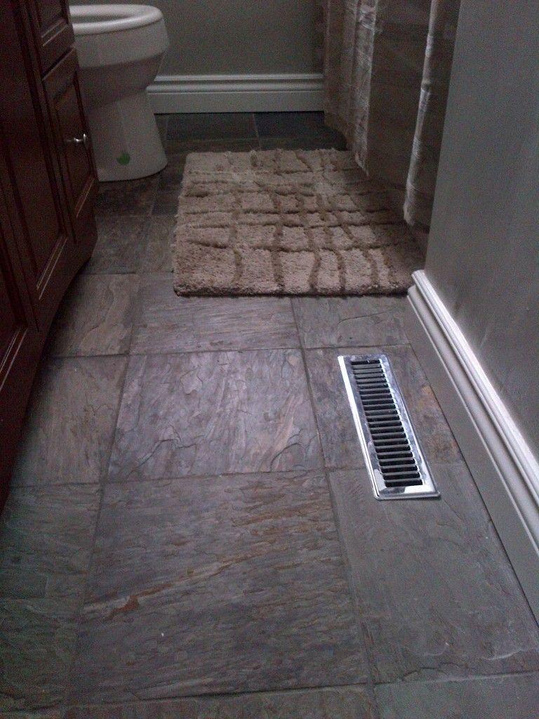Slate Tile Bathroom Flooring New Vanity And White Baseboard Trim