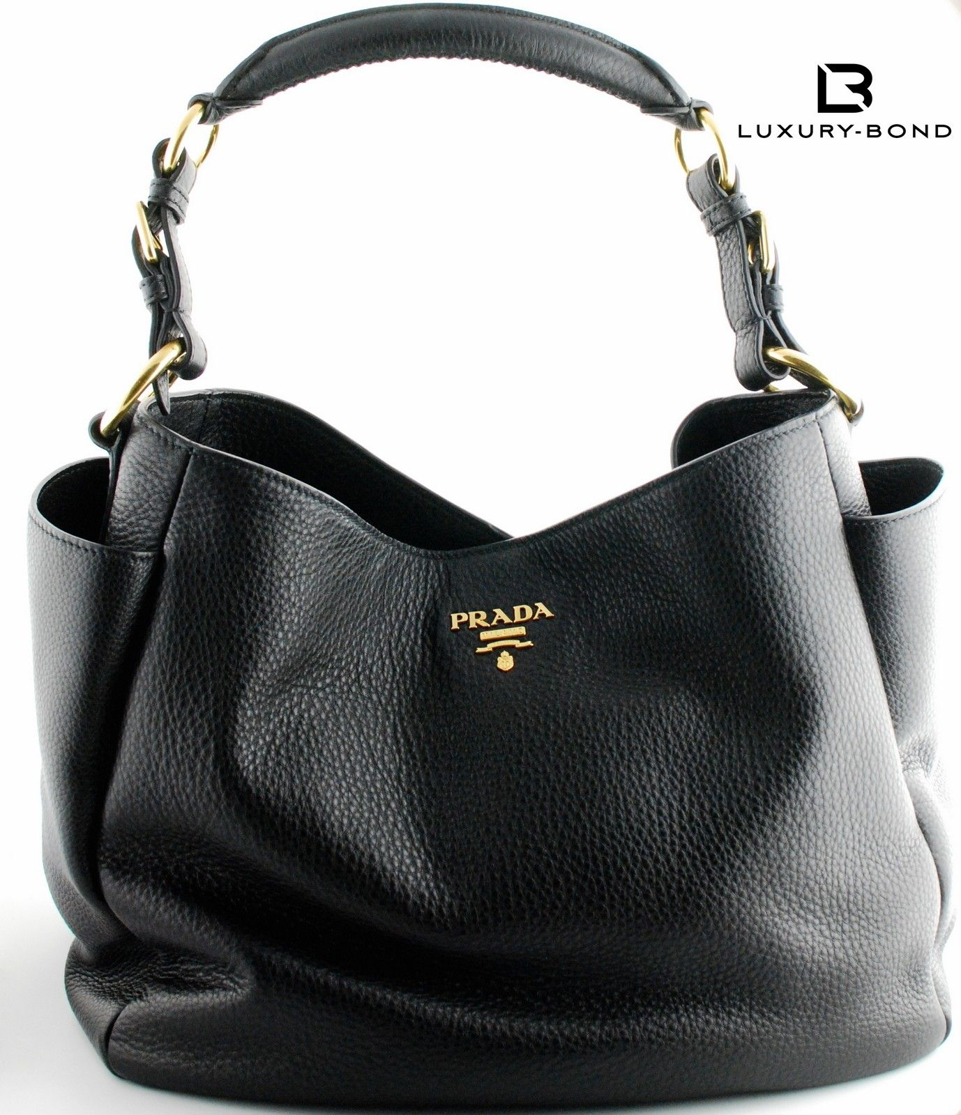 Prada BR4863 Vitello Daino Shopping Tote Hobo Bag Nero Black ...