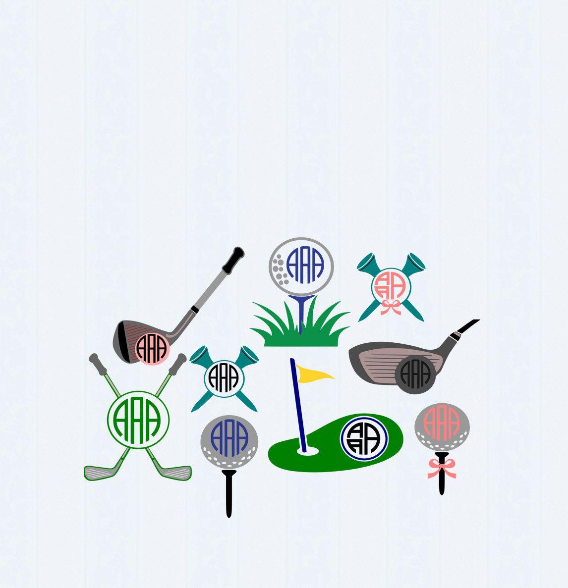 Download Golf SVG Monogram Golf ball svg, Putter svg, Golf tee svg ...