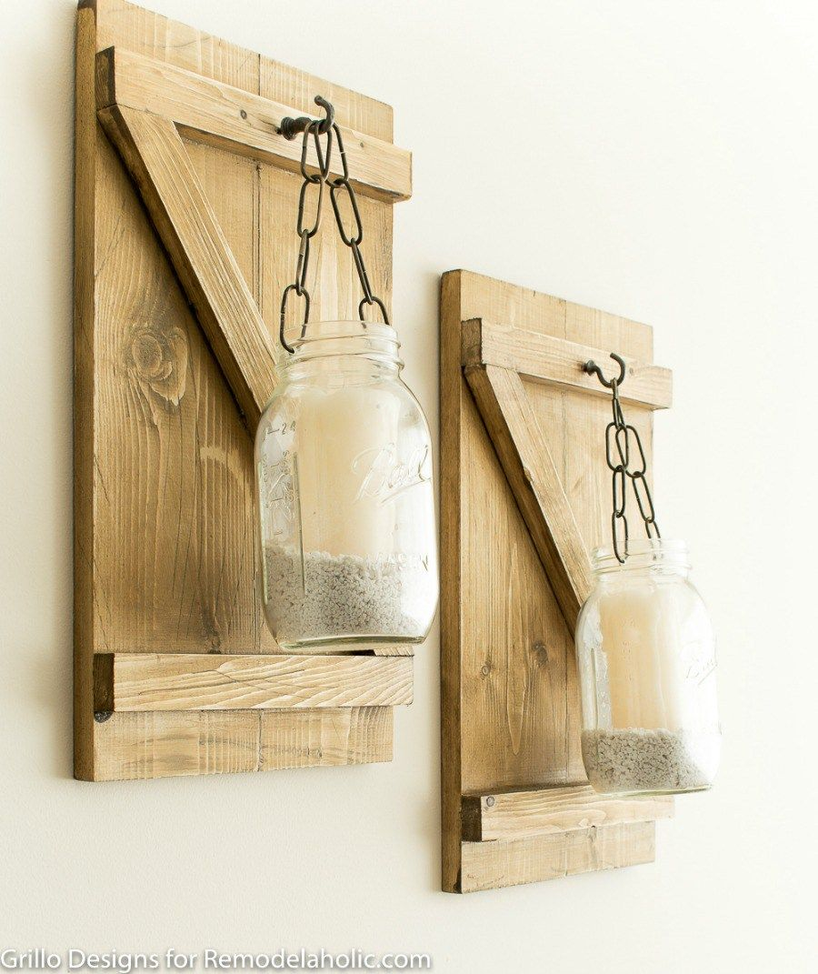 Wooden Mason Jar Candle Hangers, How To Make A Rustic Hanging Mason ...