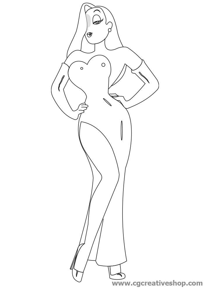 Jessica rabbit cartoon drawing sketch coloring page for Jessica rabbit coloring pages