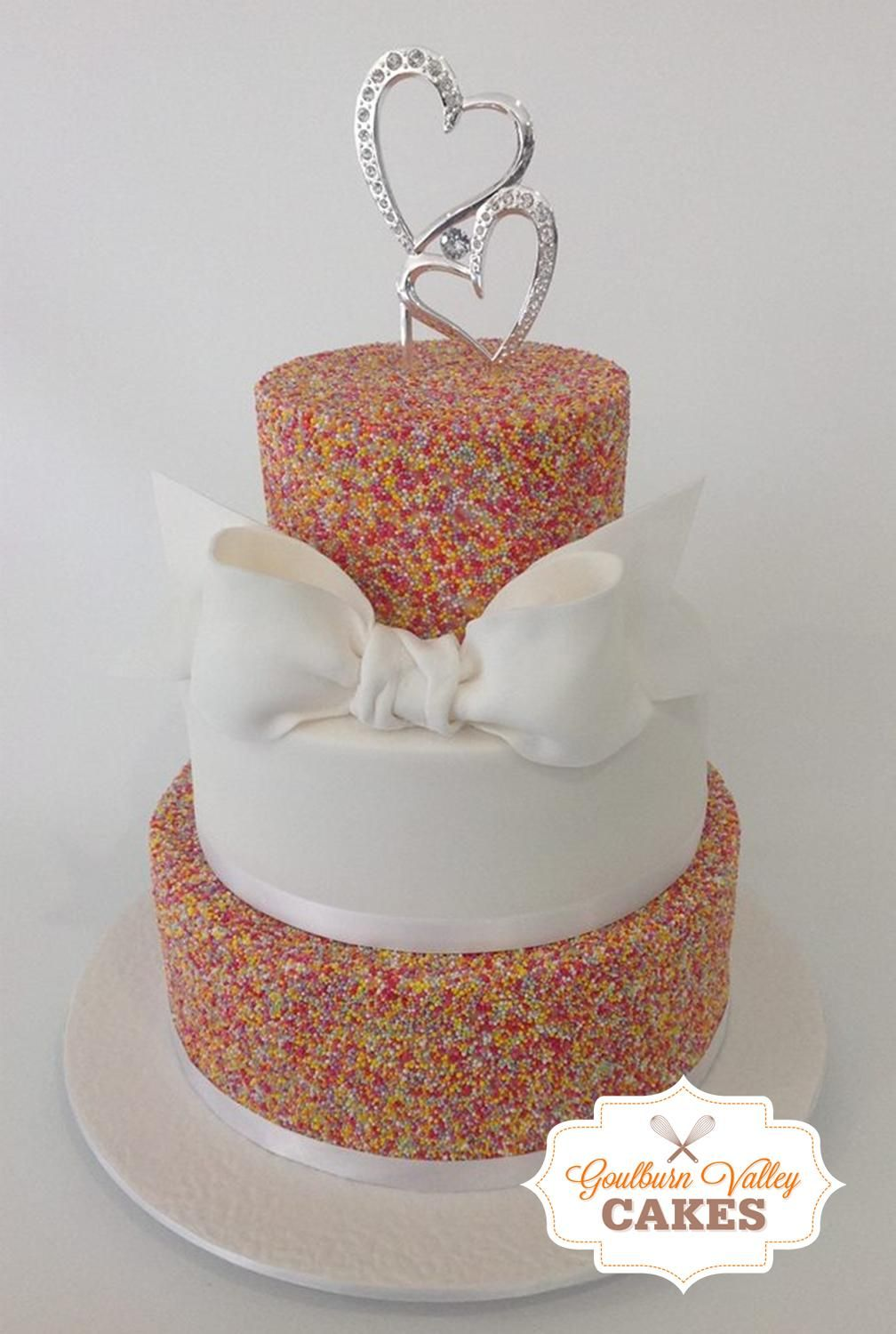 3 Tier Fondant Sprinkles Wedding Cake With Hand Made Bow