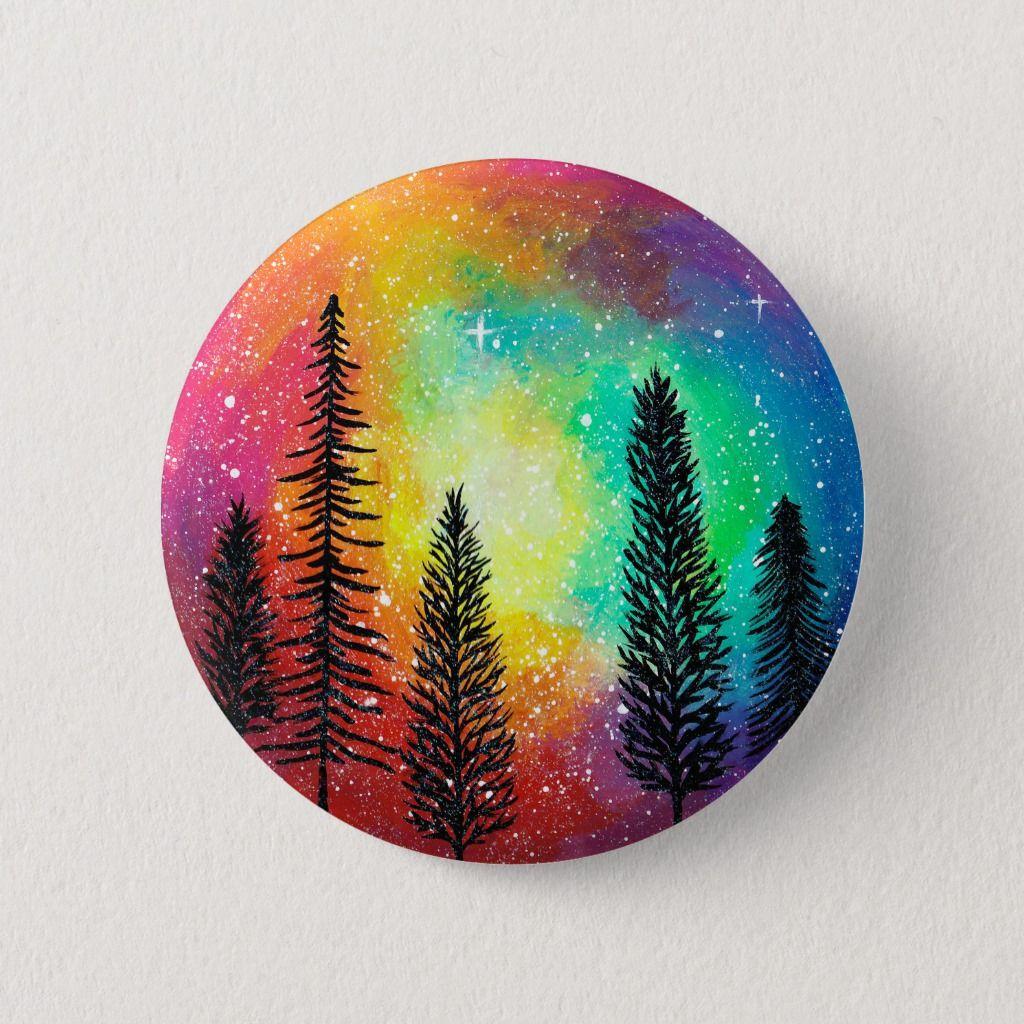 Rainbow Galaxy Button - Rainbow Forest Button   Zazzle.com