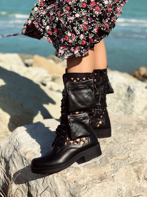 Stivali donna anfibi neri con tasche in pelle made in italy