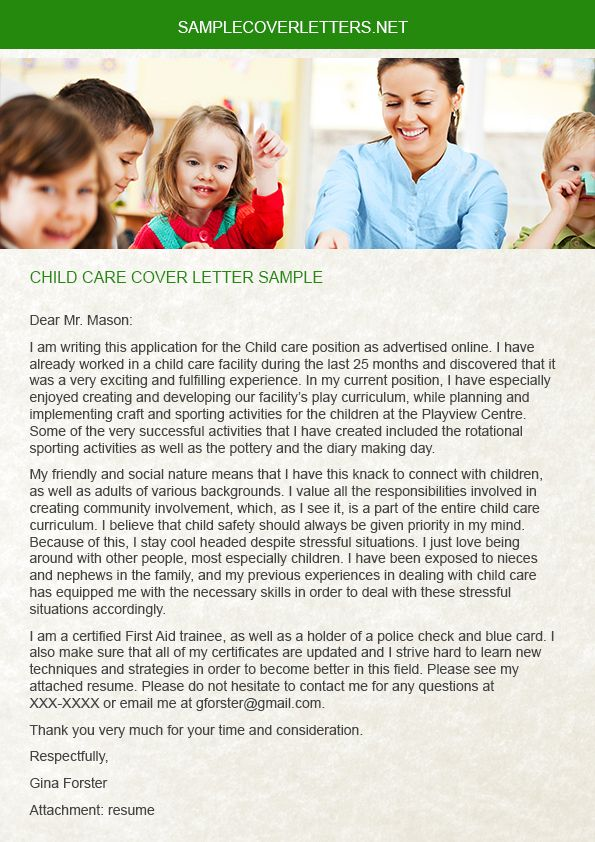 cover letter childcare traineeship