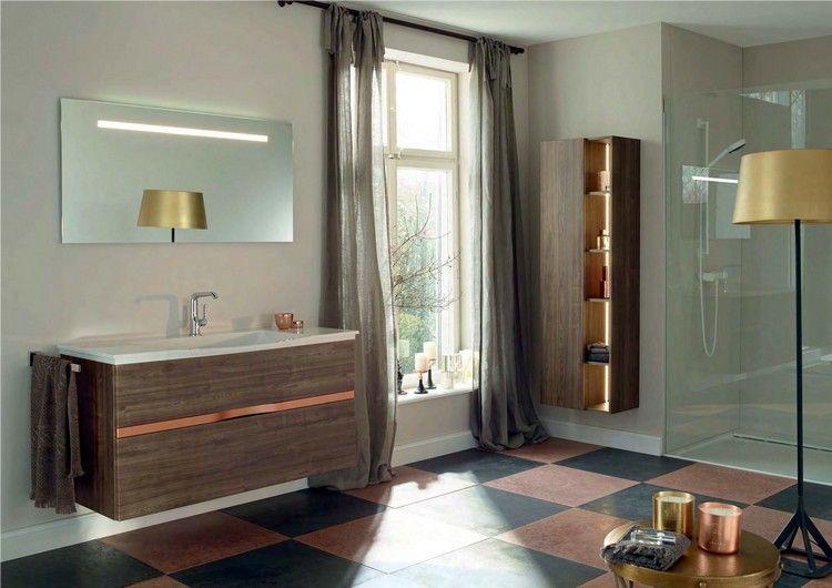 meuble salle de bain moderne en bois massif, miroir rectangulaire