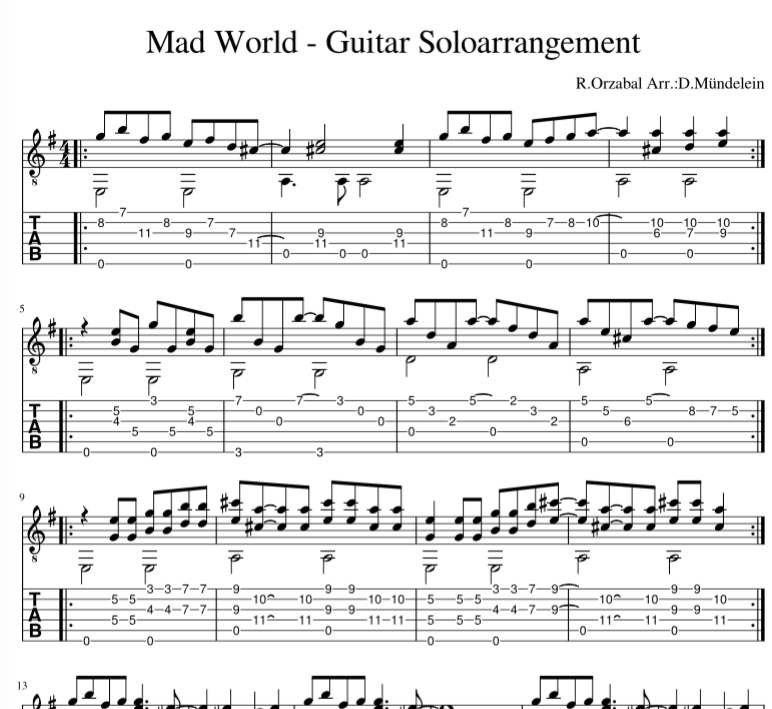 Guitar Solo Arrangement Mad World Listen At Https Www Youtube Com Watch V Ghyvr7rejkw Music Theory Guitar Mad World Fingerstyle Guitar