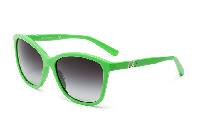 Women's green acetate sunglasses with butterfly frame by Dolce
