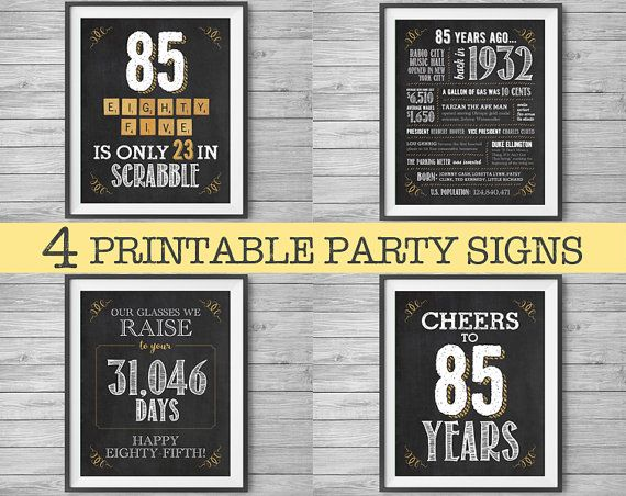 85th Birthday Or Anniversary Printable Party Decor 4 Unique 8x10 Chalk Signs Instant Digital Downloads 1932 Diy Print At Home
