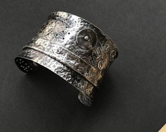 49b24b4d290ad Sterling Silver heavy wide open cuff bangle bracelet brutalist ...