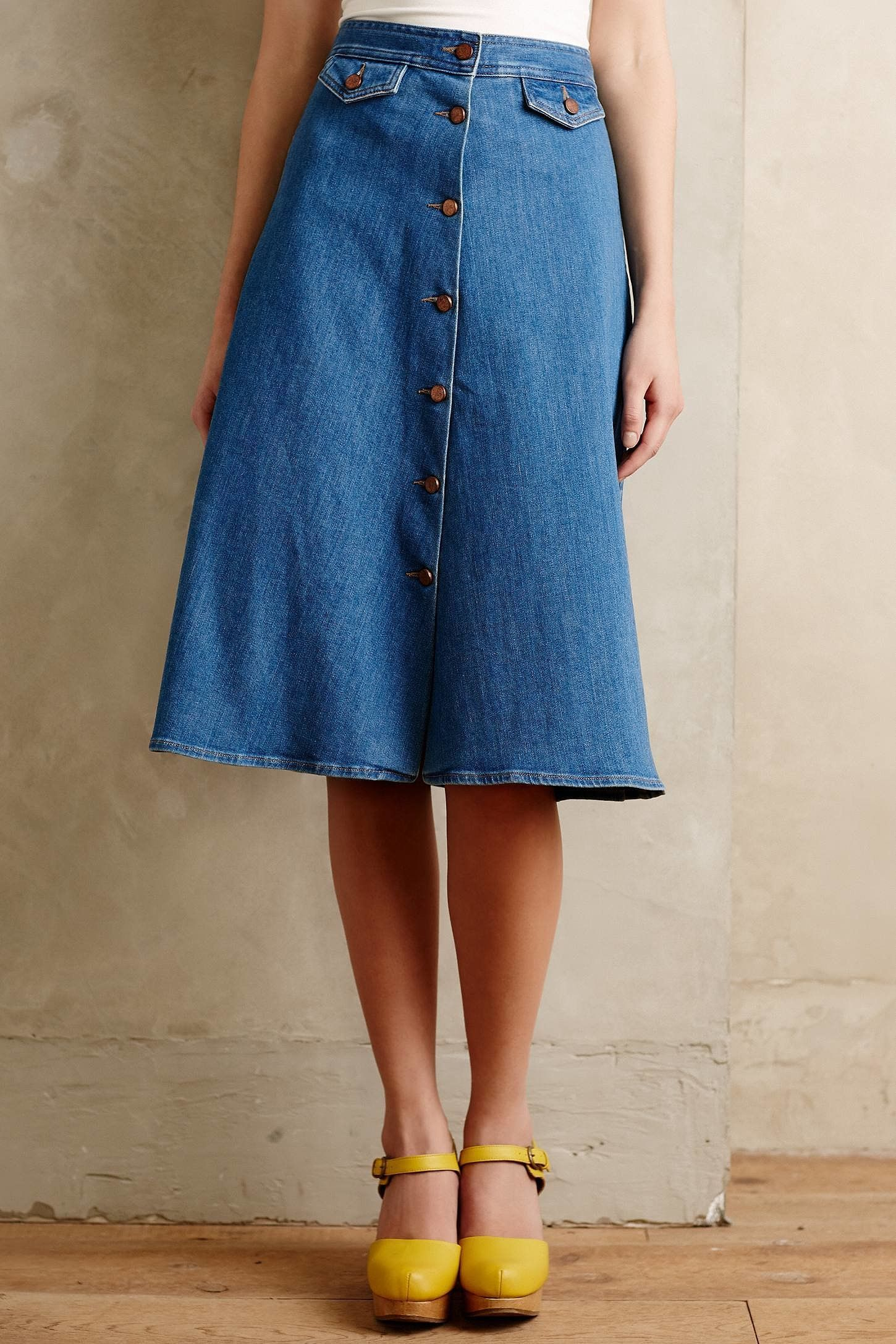 Front Button Denim Skirt - Dress Ala
