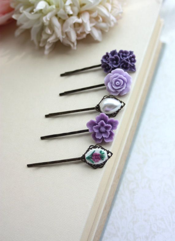 Purple Flower Hair Pins Shades Of Lavender Lilac Amethyst