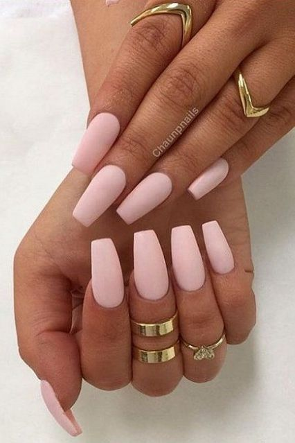 Pink Matte Coffin Shaped Matchmade In Mani Heaven