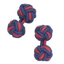 Navy and red silk knot cufflinks - Charles Tyrwhitt