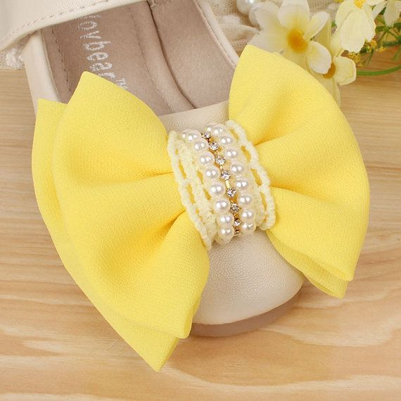 Real Leather Flower Girl Shoes Yellow Bow Ivory By