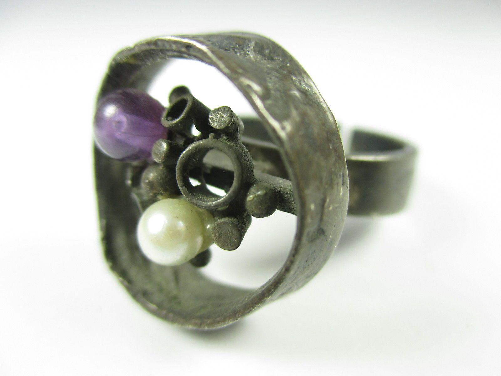 Perli Designer Ring 800 Silber Perle Amethyst Modernist 70er Boho -89 N4 | eBay