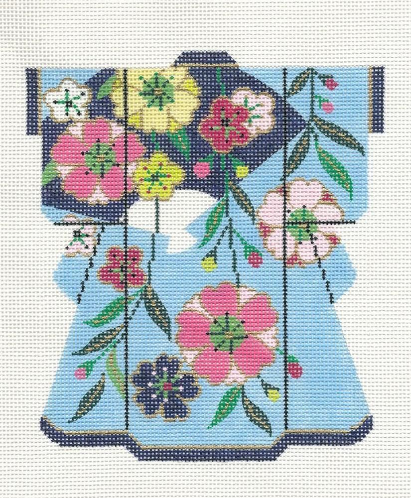 "Pink Blossoms MED Kimono handpainted Japanese Needlepoint Canvas 5/""x 6/"" by LEE"