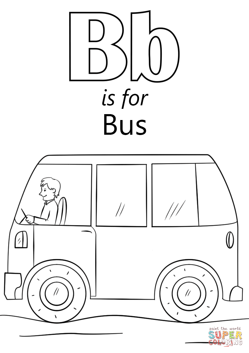 letter b is for bus coloring page from letter b category