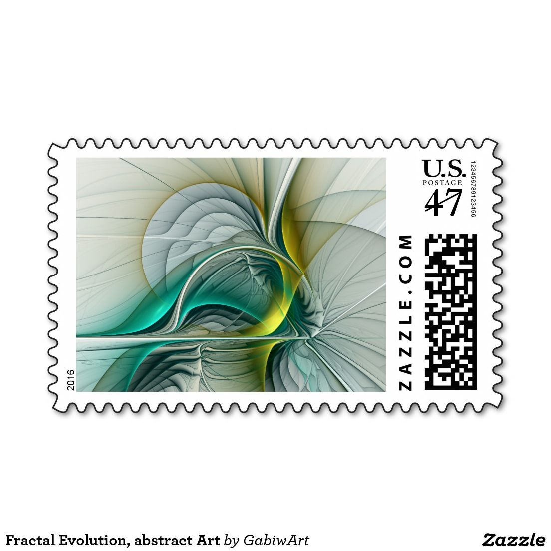 Fractal Evolution, abstract Art Stamp