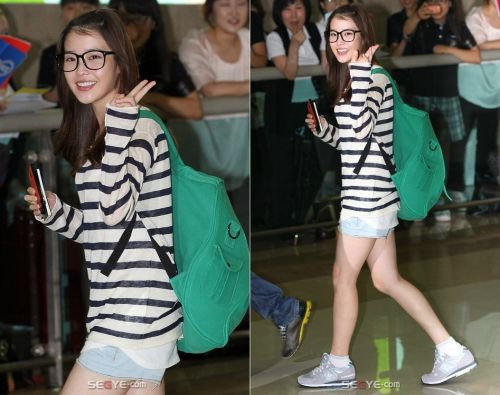 Iu S Airport Fashion Casual Doll Green Backpack Love Skinny Fashion Airport Style Iu Fashion