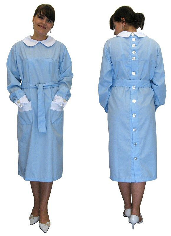 Kittel Kleid Schürze hinten geknöpft Nylon Baumwolle 48   apron ...