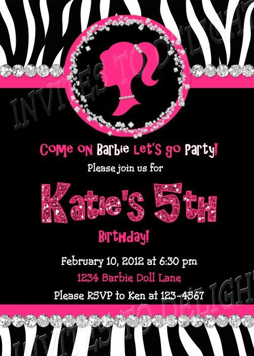 barbie silhouette birthday invitation zebra digital. $10.00, via, Birthday invitations