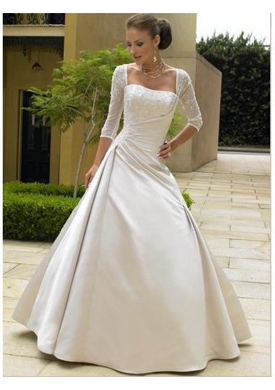 Ball Gown Square Neckline Length Sleeve Chapel Train Satin And Lace Bride Wedding With Ruffles A Line