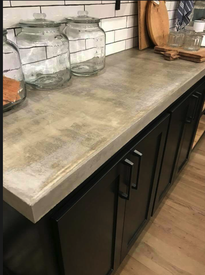 Concrete Counters Black Cabinets Wood Floors Just Needs Brass Accents Concrete Countertops Kitchen Concrete Kitchen Counters Concrete Kitchen
