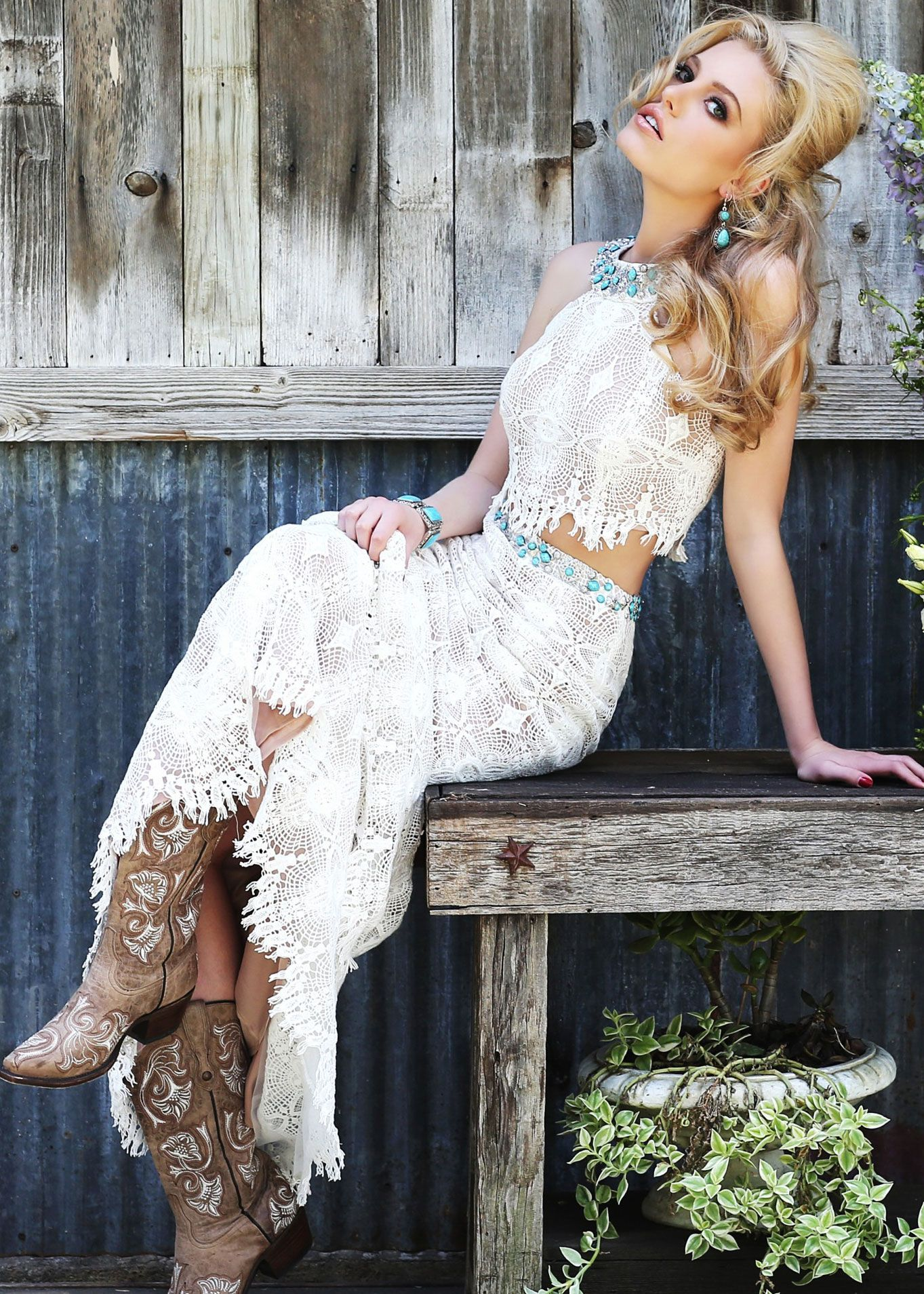 Sherri Hill 32255 - Two Piece Bohemian Lace Crochet with Turquoise ...