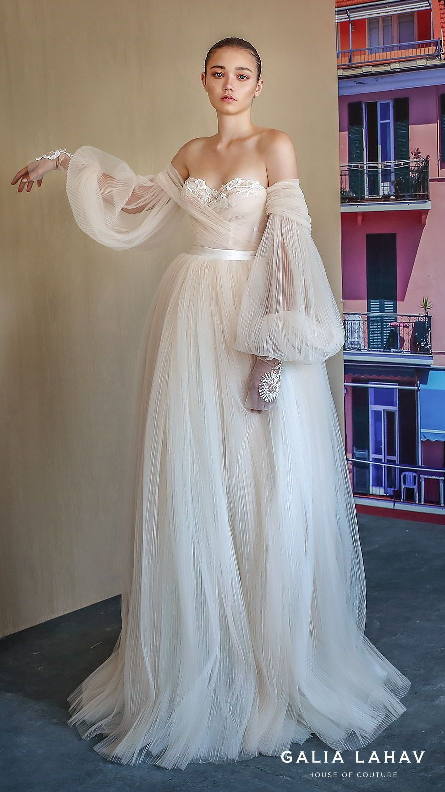 Galia Lahav Fall 2019 Bridal Wedding Dress    off shoulder sheer balloon  sleeves sweetheart neckline lace bodice pleated ball gown wedding dress  sweep train ... 318b70681fa4