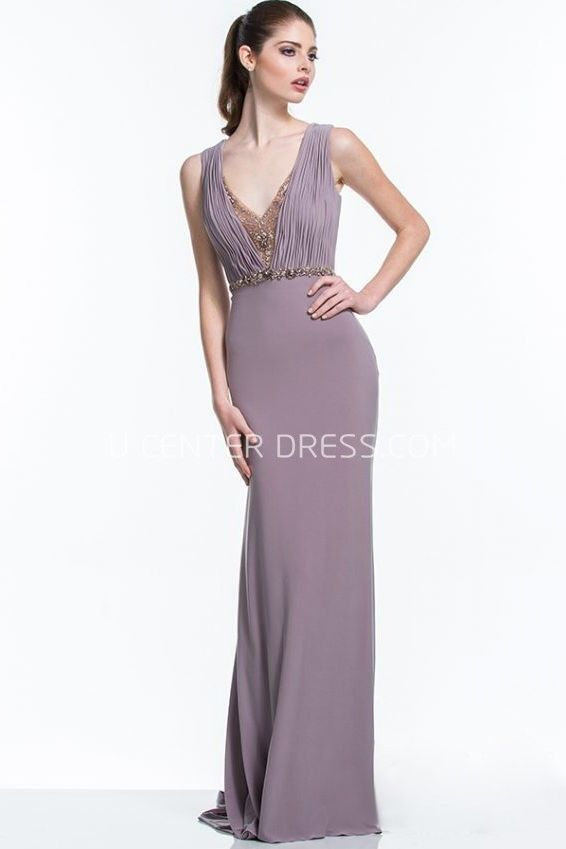 cd28aaf3052 $164.09-Sheath Sleeveless V-Neck Ruched Jersey Beaded Purple Formal Dress  with Open Back