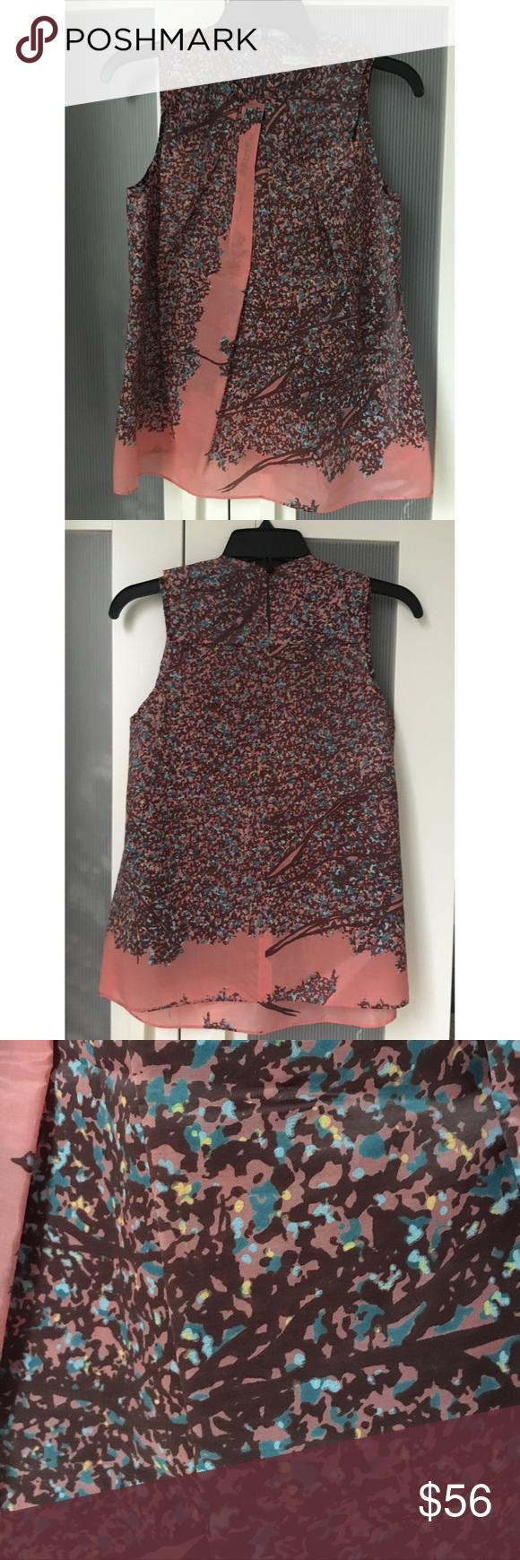 Gorgeous Balenciaga Silk Top - Like New! Pink and multicolor Balenciaga sleeveless printed silk top with crew neck and button closure at back. Perfect condition- like new! Balenciaga Tops